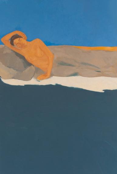 Christine Safa, La mort heureuse, 2018, huile sur toile, 195x130cm. Courtesy de l'artiste