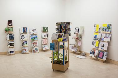 Socles Oulala, bois, plantes, documents, Vue de DNSAP, Fanny Spano, Pavillon Bosio, Monaco, juin 2018, Courtesy Fanny Spano